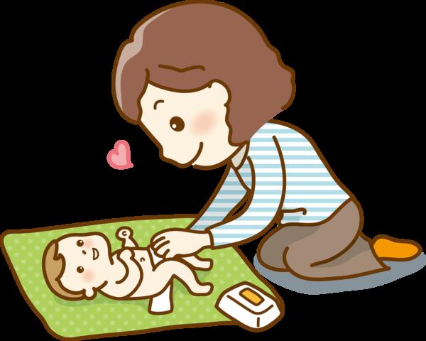 赤ちゃんを綿棒浣腸するママ